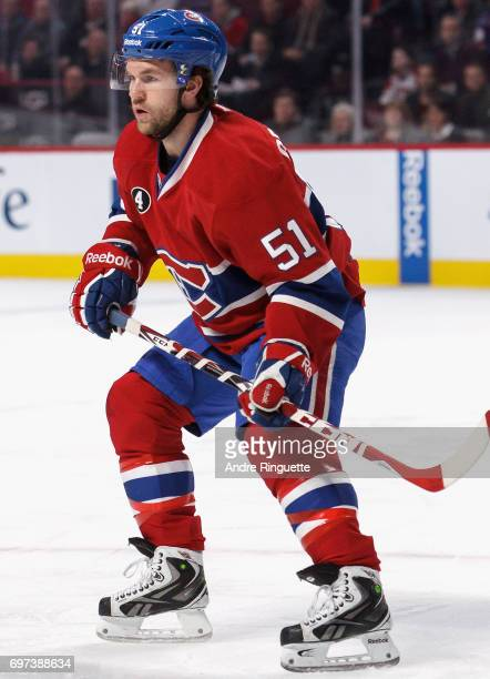 David Desharnais of the Montreal Canadiens plays in the game against the Los Angeles Kings at the Bell Centre on December 12 2014 in Montreal Quebec...
