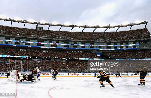 David Desharnais of the Montreal Canadiens scores on goaltender Tuukka Rask of the Boston Bruins during the first period of the 2016 Bridgestone NHL...