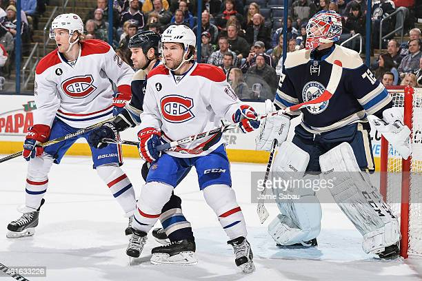 David Desharnais of the Montreal Canadiens skates against the Columbus Blue Jackets on January 14 2015 at Nationwide Arena in Columbus Ohio Montreal...