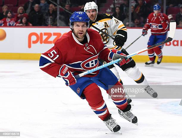 David Desharnais of the Montreal Canadiens skates against the Boston Bruins in the NHL game at the Bell Centre on November 7 2015 in Montreal Quebec...