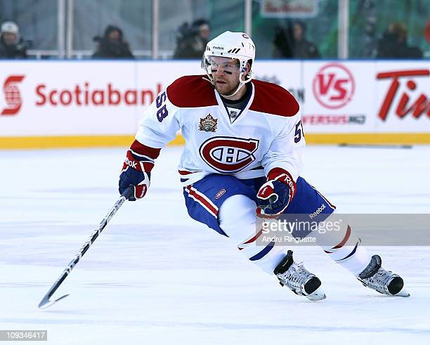 David Desharnais of the Montreal Canadiens skates against the Calgary Flames during the 2011 NHL Heritage Classic Game at McMahon Stadium on February...