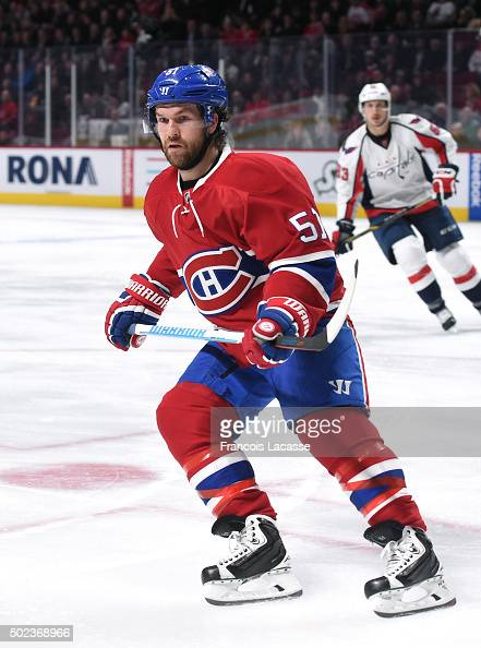 David Desharnais of the Montreal Canadiens skates against the Washington Capitals in the NHL game at the Bell Centre on December 3 2015 in Montreal...
