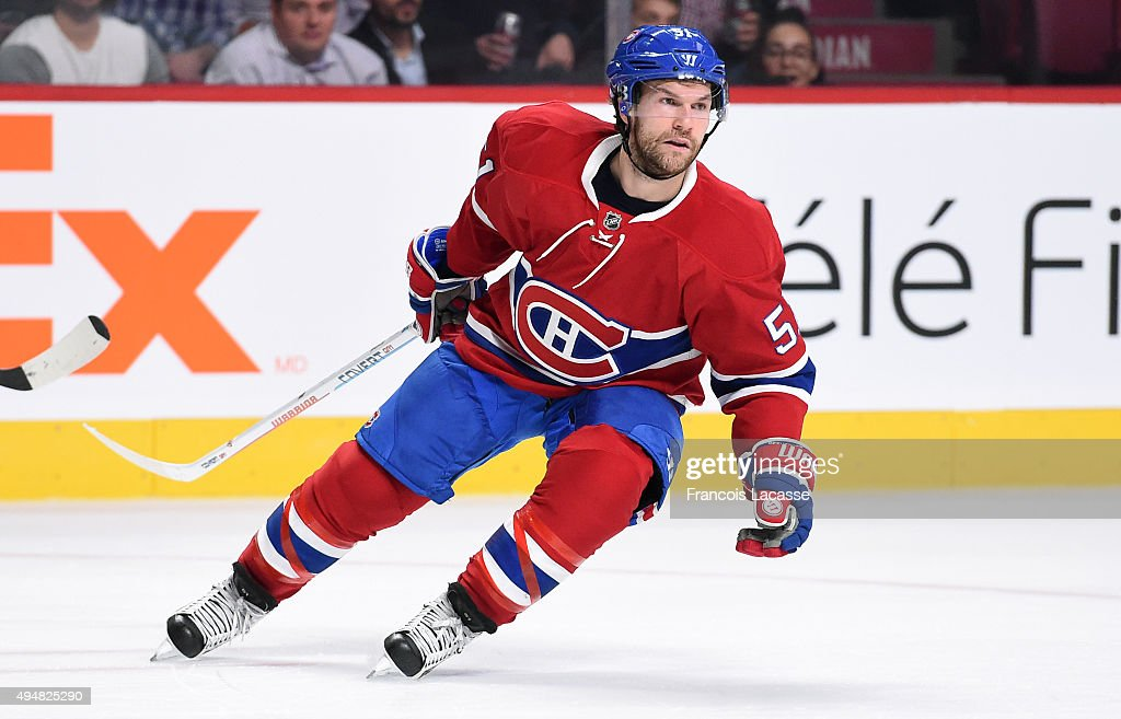 David Desharnais of the Montreal Canadiens skates against the StLouis Blues in the NHL game at the Bell Centre on October 20 2015 in Montreal Quebec...