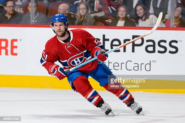 David Desharnais of the Montreal Canadiens skates during the NHL game against the St Louis Blues at the Bell Centre on October 20 2015 in Montreal...