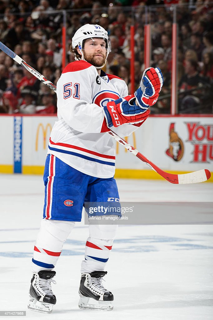 David Desharnais of the Montreal Canadiens skates in Game Six of the Eastern Conference Quarterfinals against the Ottawa Senators during the 2015 NHL...