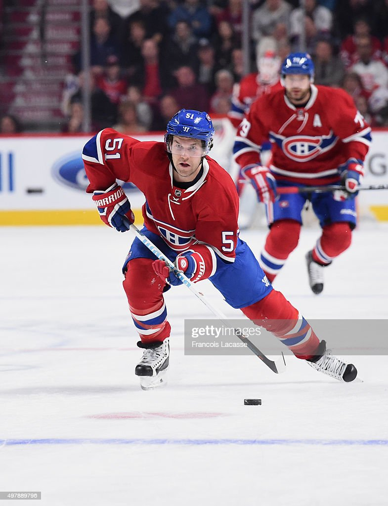 David Desharnais of the Montreal Canadiens skates with the puck against theColorado Avalanche in the NHL game at the Bell Centre on November 14 2015...