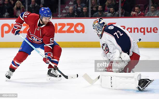 David Desharnais of the Montreal Canadiens takes a shot on goal Sergei Bobrovsky of the Columbus Blue Jackets in the NHL game at the Bell Centre on...