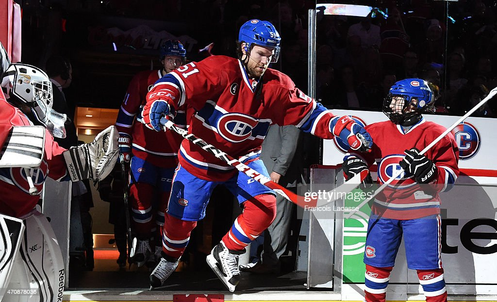 David Desharnais of the Montreal Canadiens takes to the ice before action against the Ottawa Senators in Game Two of the Eastern Conference...
