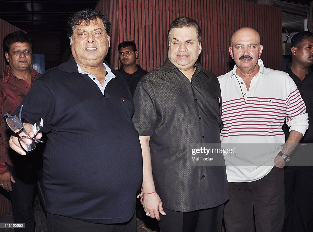 David Dhawan,<a gi-track='captionPersonalityLinkClicked' href=/galleries/search?phrase=Ramesh+Taurani&family=editorial&specificpeople=6136061 ng-click='$event.stopPropagation()'>Ramesh Taurani</a> and Rakesh Roshan arrives at the launch of Amisha Patel's production house at Aurus in Mumbai on 23rd April 2011.