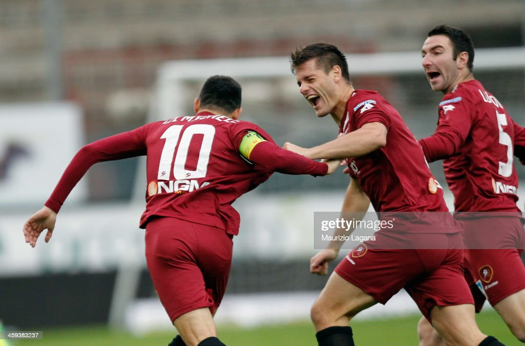 David Di Michele and Krstian Ipsa of Reggina celebrate the opening goal during the Serie B match between Reggina Calcio and US Avellino at Stadio...