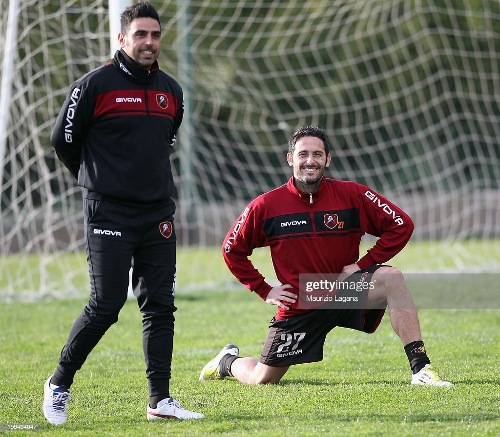 David Di Michele of Reggina attends a Reggina training session befere his presentation as new player at Sant'Agata Sporting Center, on January 14, 2013 in Reggio Calabria, Italy.