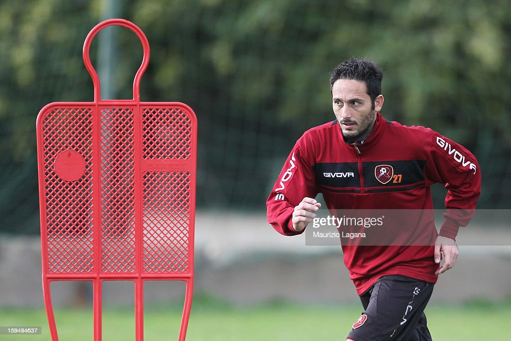David Di Michele of Reggina attends a Reggina training session before his presentation as new player at Sant'Agata Sporting Center, on January 14, 2013 in Reggio Calabria, Italy.