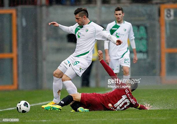 David Di Michele of Reggina competes for the ball with Andrey Galabinov of Avellino during the Serie B match between Reggina Calcio and US Avellino...