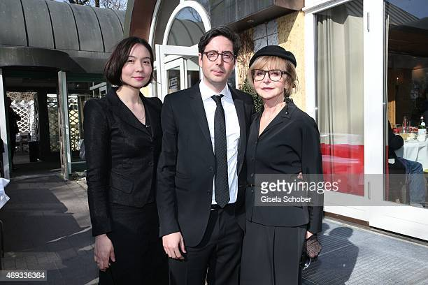David Dietl and his mother Marianne Dennler and his wife Lydie during a memorial service for the deceased film director Helmut Dietl on April 11 2015...