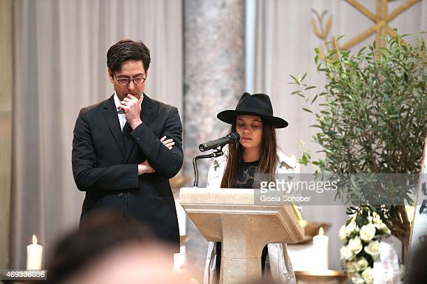 David Dietl and his sister Serafina Dietl during a memorial service for the deceased film director Helmut Dietl on April 11 2015 in Munich Germany