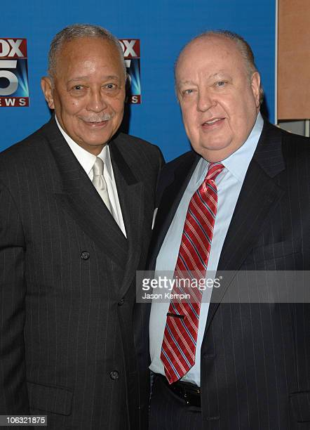 David Dinkins and Roger Ailes during Fox 5 Celebrates The 4th Anniversary Of The 10 PM News March 15 2007 at Fresco On The Go in New York City New...