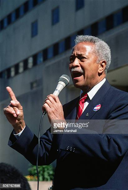 David Dinkins giving a speech during his campaign for Mayor of New York