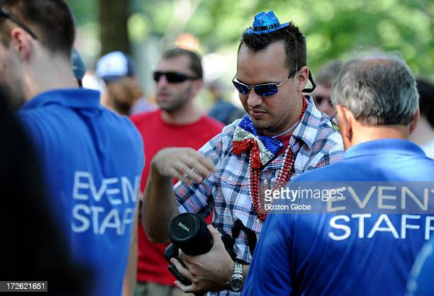 David Donnaruma of Orlando Fla goes through a security checkpoint In the wake of the bombings at the Boston Marathon finish line earlier this year...