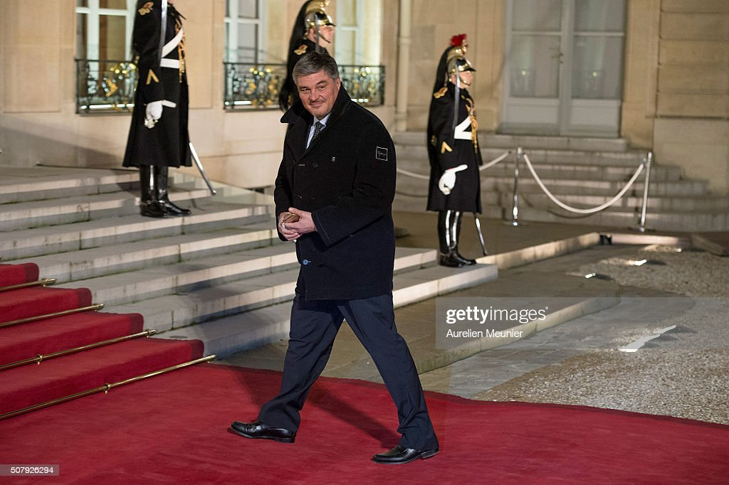 <a gi-track='captionPersonalityLinkClicked' href=/galleries/search?phrase=David+Douillet&family=editorial&specificpeople=220892 ng-click='$event.stopPropagation()'>David Douillet</a> arrives at Elysee Palace as French President Francois Hollande receives the Cuban President Raul Castro for a State Diner on February 1, 2016 in Paris, France. During the visit of Cuban President in France, around a dozen commercial, tourism and fair trade contracts were signed as France want to be the leader on the Cuban market.