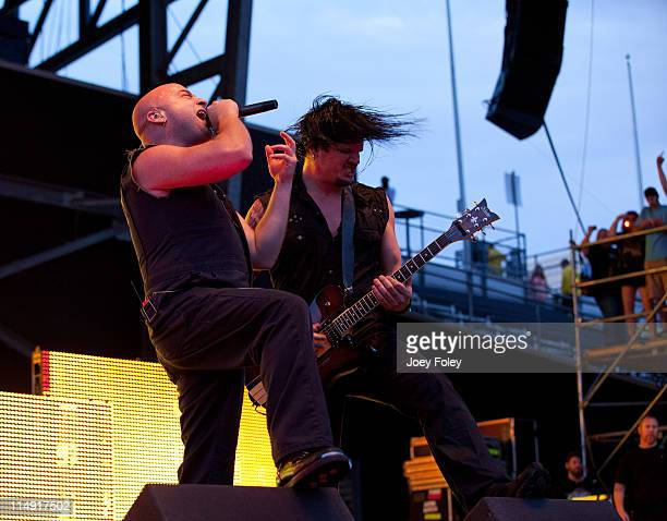 David Draiman and Dan Donegan of Disturbed perform during the 2011 Rock On The Range festival at Crew Stadium on May 22 2011 in Columbus Ohio