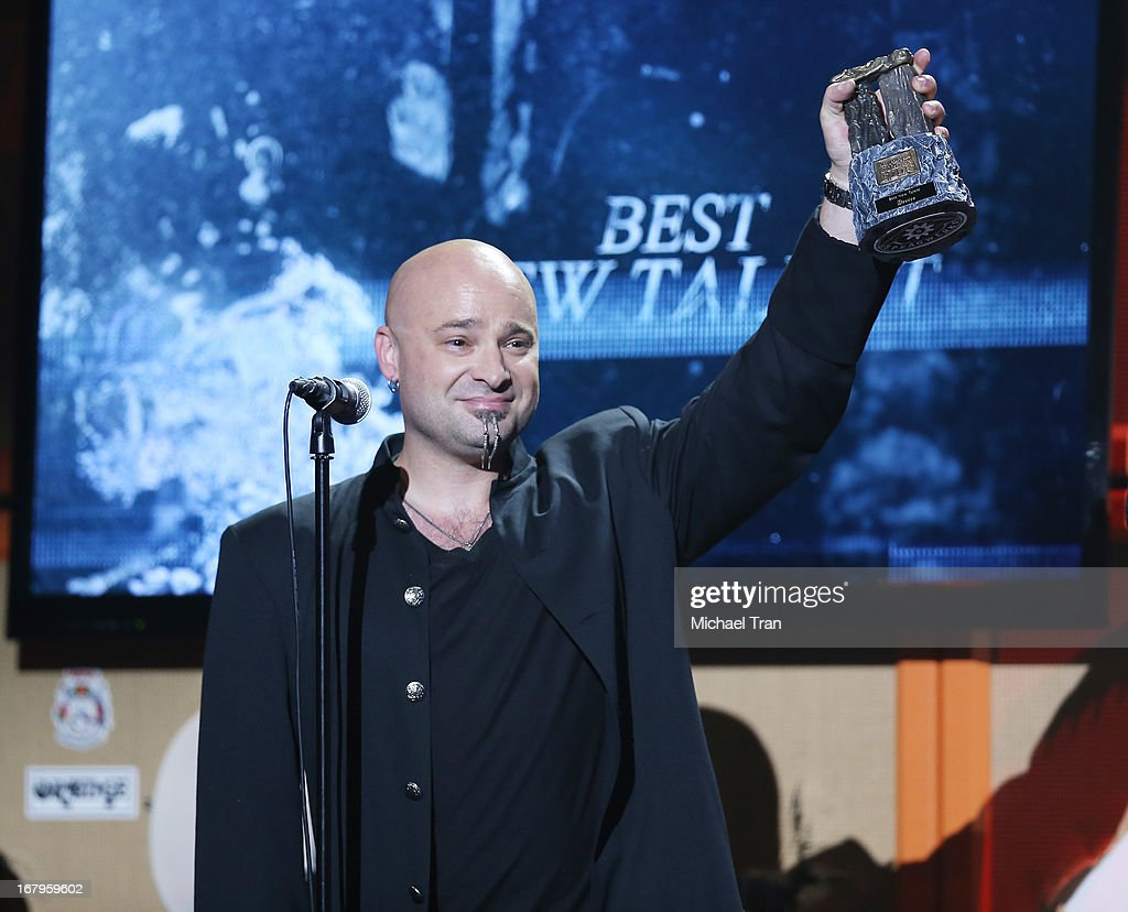 <a gi-track='captionPersonalityLinkClicked' href=/galleries/search?phrase=David+Draiman&family=editorial&specificpeople=549613 ng-click='$event.stopPropagation()'>David Draiman</a> of Disturbed / Device attends the 5th Annual Revolver Golden Gods Award Show held at Club Nokia on May 2, 2013 in Los Angeles, California.