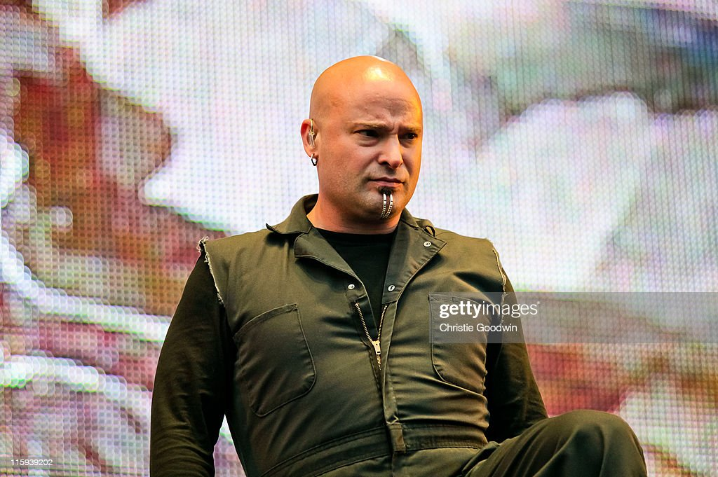 David Draiman of Disturbed performs on the main stage on Day 3 of Download Festival at Donington Park on June 12, 2011 in Castle Donington, England.