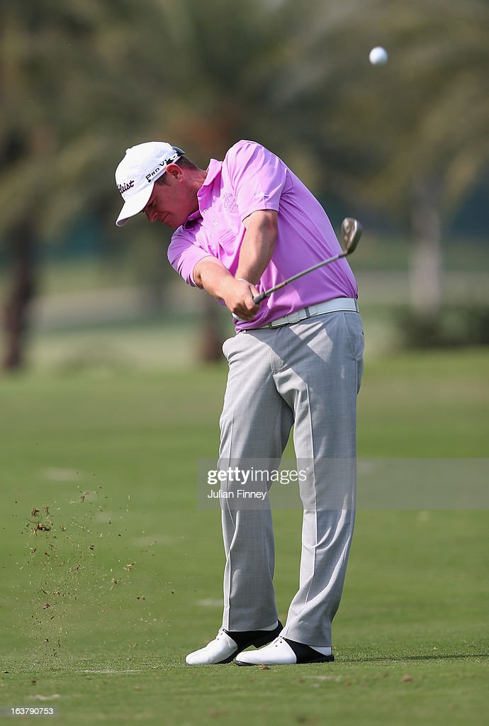 David Drysdale of England in action during day three of the Avantha Masters at Jaypee Greens Golf Club on March 16, 2013 in Delhi, India.