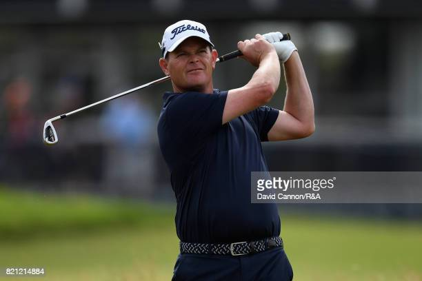 David Drysdale of Scotland hits an approach shot on the 18th hole during the final round of the 146th Open Championship at Royal Birkdale on July 23...