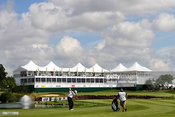 David Drysdale of Scotland hits his second shot on the 18th hole during a proam round ahead of the DD REAL Czech Masters at Albatross Golf Resort on...
