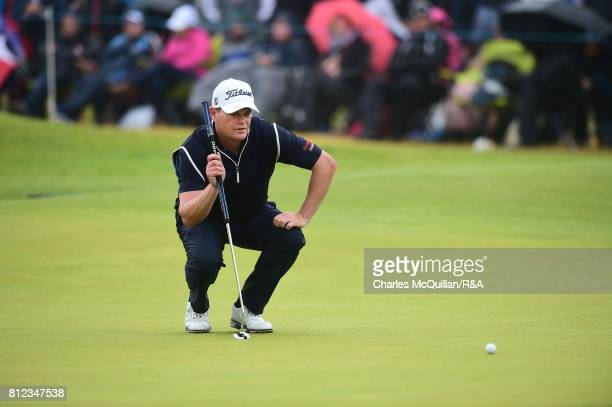David Drysdale of Scotland lines up a putt during the final round at the Dubai Duty Free Irish Open hosted by the Rory Foundation at Portstewart Golf...