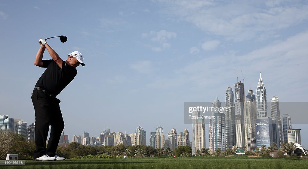 <a gi-track='captionPersonalityLinkClicked' href=/galleries/search?phrase=David+Drysdale&family=editorial&specificpeople=569604 ng-click='$event.stopPropagation()'>David Drysdale</a> of Scotland on the 8th tee during the second round of the Omega Dubai Desert Classic on February 1, 2013 in Dubai, United Arab Emirates.