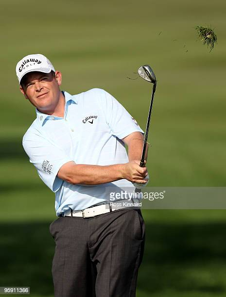 David Drysdale of Scotland on the par four 14th hole during the first round of the Abu Dhabi Golf Championship at Abu Dhabi Golf Club on January 21...