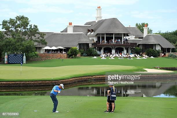 David Drysdale of Scotland plays into the 18th green during the third round of the Alfred Dunhill Championships at Leopard Creek Country Golf Club on...