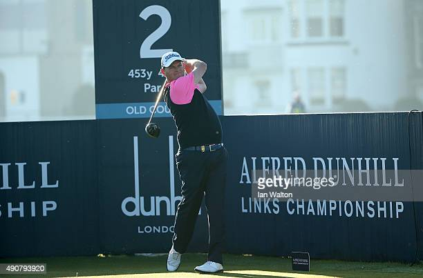 David Drysdale of Scotland plays off the second tee during the first round of the 2015 Alfred Dunhill Links Championship at The Old Course on October...