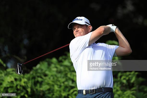 David Drysdale of Scotland tees off on the 10th during day one of The Alfred Dunhill Championship at Leopard Creek Country Golf Club on December 1...