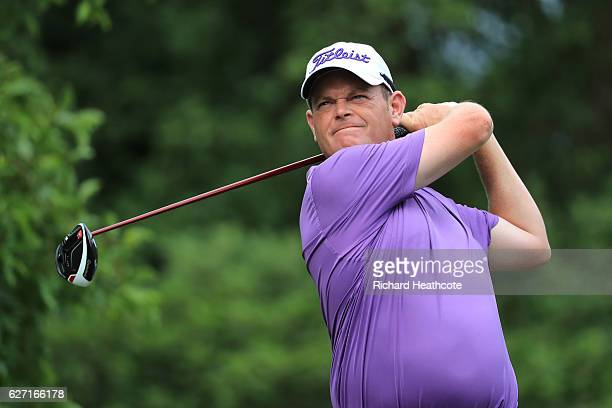 David Drysdale of Scotland tees off on the 17th during the second round of the Alfred Dunhill Championship at Leopard Creek Country Golf Club on...