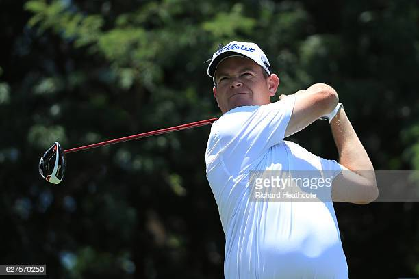 David Drysdale of Scotland tees off on the 9th during the final round of The Alfred Dunhill Championship at Leopard Creek Country Golf Club on...
