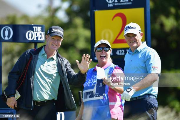 David Drysdale of Scotland with his wife and caddie Vicky Drysdale and coach Jamie Gough during a practice round prior to the 146th Open Championship...