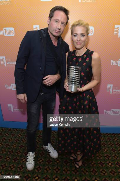 David Duchovny and Gillian Anderson attend the The 21st Annual Webby Awards at Cipriani Wall Street on May 15 2017 in New York City
