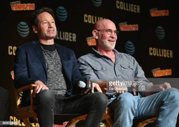 David Duchovny and Mitch Pileggi speak onstage at The XFiles panel during 2017 New York Comic Con Day 4 on October 8 2017 in New York City