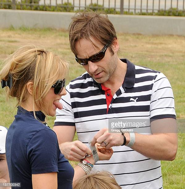 David Duchovny and Tea Leoni arrive at the 21st Annual A Time For Heroes Celebrity Picnic sponsored by Disney to benefit The Elizabeth Glaser...