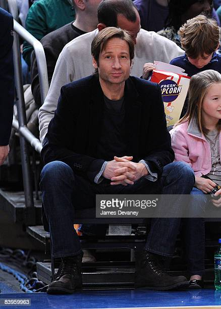 David Duchovny attends Detroit Pistons vs New York Knicks game at Madison Square Garden on December 7 2008 in New York City