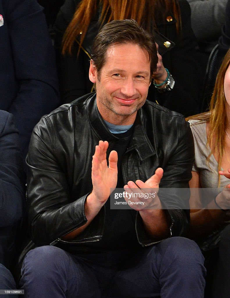 David Duchovny attends the Boston Celtics vs New York Knicks game at Madison Square Garden on January 7, 2013 in New York City.