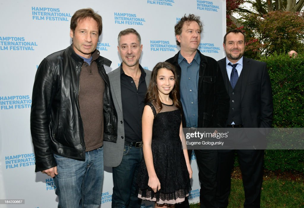 <a gi-track='captionPersonalityLinkClicked' href=/galleries/search?phrase=David+Duchovny&family=editorial&specificpeople=201628 ng-click='$event.stopPropagation()'>David Duchovny</a>, director Anthony Fabian, Olivia Steele Falconer, <a gi-track='captionPersonalityLinkClicked' href=/galleries/search?phrase=Timothy+Hutton&family=editorial&specificpeople=743801 ng-click='$event.stopPropagation()'>Timothy Hutton</a>, and Anthony Mastromauro attend the 21st Annual Hamptons International Film Festival on October 11, 2013 in East Hampton, New York.
