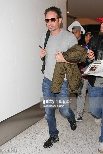 David Duchovny is seen at LAX on February 02 2016 in Los Angeles California