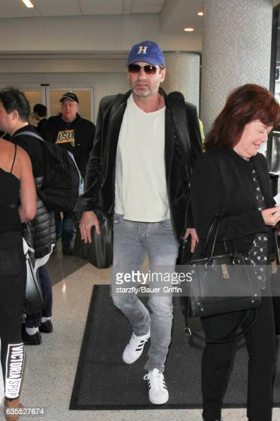 David Duchovny is seen at LAX on February 15 2017 in Los Angeles California