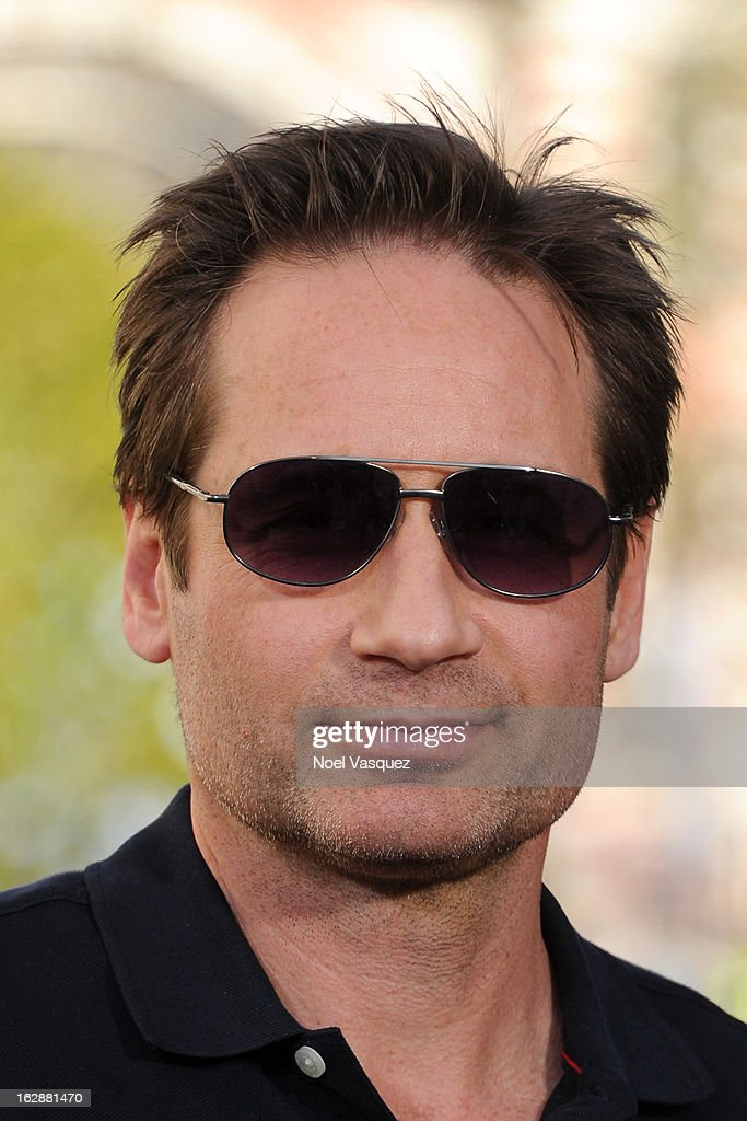 <a gi-track='captionPersonalityLinkClicked' href=/galleries/search?phrase=David+Duchovny&family=editorial&specificpeople=201628 ng-click='$event.stopPropagation()'>David Duchovny</a> visits Extra at The Grove on February 28, 2013 in Los Angeles, California.