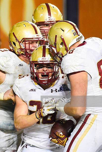 David Dudeck of the Boston College Eagles celebrates after scoring a touchdown in overtime during a game against the Penn State Nittany Lions in the...