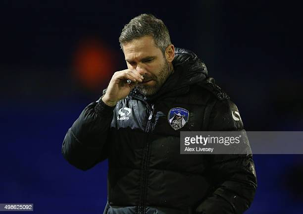 David Dunn the manager of Oldham Athletic looks on during the Sky Bet League One match between Oldham Athletic and Southend United at Boundary Park...