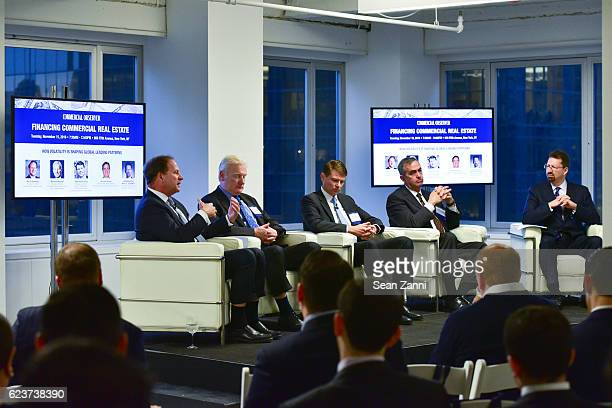 David Durning Michael Higgins Alexander Joerg Jerome Sanzo and Mark S Edelstein attend The Commercial Observer Financing Commercial Real Estate at...